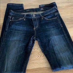 Ag dark wash skinny jeans EUC